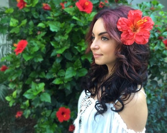 Flower Hair Clip - Orange Red  Hawaiian Hibiscus - Hair Accessories - Hula Flowers - Beach Party - Flower Girl - Bridal - Festivals