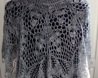 Hand-knitted lace beaded shawl in pure silk-Evening wear-Wedding -Bridal wear-Silver tones-100% silk-silk shoulder shrug-silk wrap