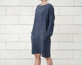 Classic casual linen tunica/dress/shirt with side pockets in Charcoal Grey. Washed handmade linen.