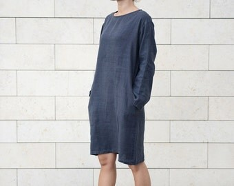 Classic Casual Linen Tunica | Washed Soft Linen Dress | Long Shirt | Wide Dress With Side Pockets | Washed Handmade Linen Dress |