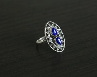 Lapis Lazuli Ring Oval,Lapis Ring, Silver ring,  US 7 US 8
