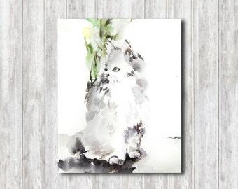Cat Watercolor Print, Watercolor Painting Art Print, Cat Watercolour Wall Art