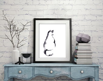 Minimalist Cat Art Print, Cat Painting, Watercolor Painting Art Print, Cat Wall Art, Black and White Modern Home Decor