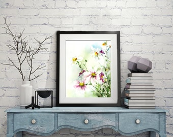 Watercolor Print, Field Flowers Painting, Watercolor Painting Art Print, Watercolour Floral Art