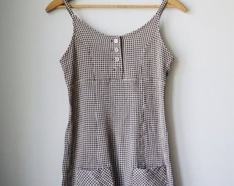 90s brown gingham minidress, size XS/S