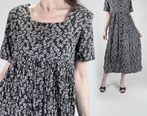 Vintage Button-up COTTON dress women M 6 /90s summer Black floral Boho maxi dress/70s Hippie empire waist shift prairie dress short sleeve