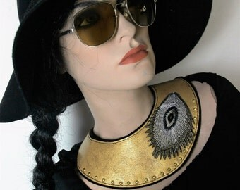 unique double layered leather statement necklace collar gold sanded leather