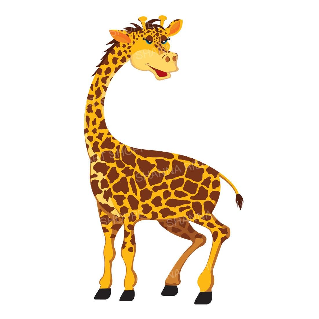 giraffe clipart jungle safari baby shower instant download