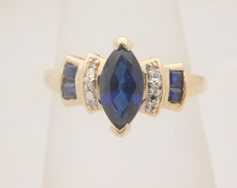 Ladies Marquise & Princess Cut Blue Sapphire And Diamond Ring 14K