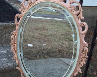 Large Pastel Oval Wall Mirror/ Vintage Shabby Cottage Hand Painted Peach Mint Green Gold baroque mirror/ Girl's room/ Nursery Wall decor