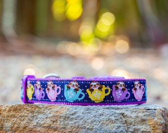 Cute Sloths Dog Collar / XS-XL / Dog Collars Australia. Sloths in Teacups <3