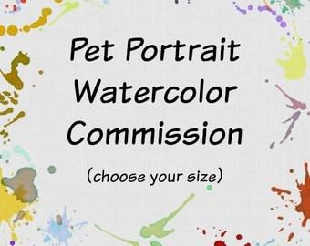 Pet Portrait Watercolor Commission 4x6 5x7 8x10 9x12 11x14 or 16x20 custom painting. Custom watercolor animal. Commission art. Pet memorial.