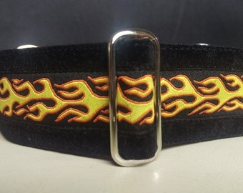 "Martingale Collar - Whippet, and small to medium dog - 1.5"" width - Flames with velvet"