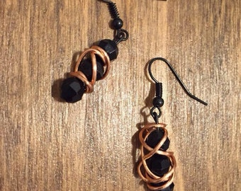 Black Beaded Copper Wire Wrapped Earrings
