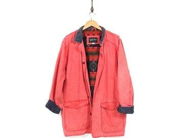 Vintage 90s Chore Jacket - 90s Wind River Normcore Grunge Red Oversized Jacket - 90s Canvas Cotton Southwestern Blanket Lined Chore Jacket