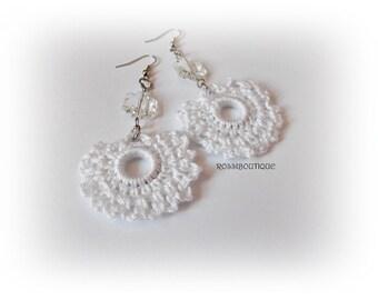 Crochet earrings, Crochet jewelry, White crochet earrings, white earrings, earrings, trendy earrings, unique earrings, Handmade Jewelry