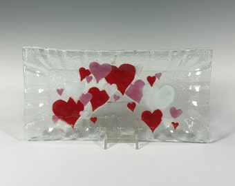 Hearts Fused Glass Tray Valentine's Day
