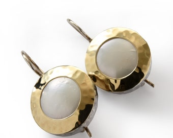 Round Gold Pearl Earrings, Vintage style Bridal earrings, White wedding earrings, Sterling silver & 9K yellow gold, everyday earrings, Sale