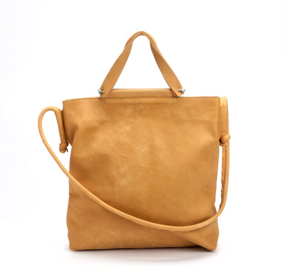 Camel Leather Tote Bag / Women Leather Shoulder Bag / Crossbody Bag / Casual Leather Purse / Lined Leather Bag / Every Day Bag - Africa
