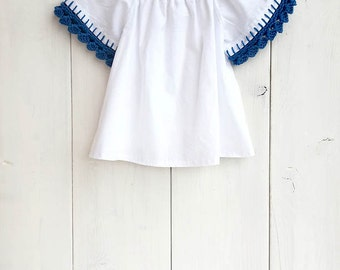 Baby white cotton blouse, baby cotton shirt, toddler blouse, girls blouse,crochet details, newborn - size 5T