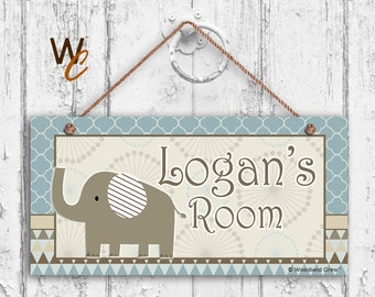 "ON SALE Nursery Sign, Elephant Boys Room Sign, Blues and Browns Personalized Sign, Kid's Name, Door Sign, Nursery Art, 5"" x 10"" Sign, Made T"