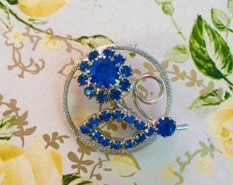1950s Silver Circle and Royal Blue Rhinestone Flower Brooch Bride Wedding Wholesale Resale Destash Collectible