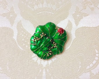 Frog and Ladybug on Lily Pad Brooch or Pendant