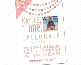 Birthday Party Invitation - Pool Party, Celebrate, Paper Garland Theme Invitation