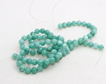 8mm Round Beads, Full Strand , Natural stone beads, Round Jade Beads, Jade , Semi Precious , Light Turquoise Beads, LAL38