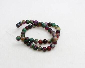 8mm Round Beads, Full Strand , natural stone beads, Round Jade Beads, Jade , Semi Precious , Colored Jasper Beads, LAL39