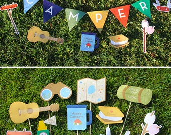 Camping Party Decorations and Camping Photo Booth Props Party Printable | INSTANT DOWNLOAD