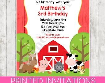 Barn Animals Birthday Invitations - Printed Barn Farm Animals Birthday Invitation by Dancing Frog Invitations