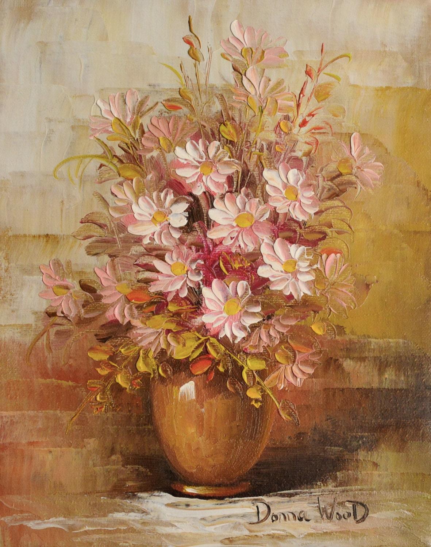 Signed Donna Wood White Magnolia Flowers Painting Vintage Art
