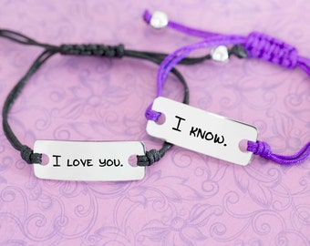 Engraved Personalized Bar Bracelet - Star Wars - I love you - I know - Princess Leia - Han Solo - Anniversary - Custom Engraving