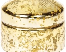 Small Gold Mercury Glass Trinket Box Round Design Speckled Snowflake Etched Vintage Jewelry Boxes Case Storage Anniversary Gift For Her Host