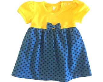 Bodysuit dress blue dots yellow, baby girl summer dress, organic cotton dress, baby girl gift, first dress, handmade dress, newborn dress
