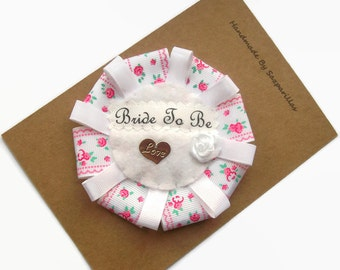 Bride to be Rosette, Hen Party Badges, Bridal Shower Accessories, Bride to be Badge,  Ribbon Hen Party Decorations