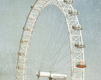 London Photography, London Eye, Fine Art Photo, Travel Photo, Ferris Wheel, London Wall Art, Neutral, blue, cream, Home Decor