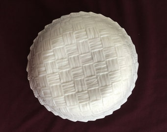 Milk Glass Basket Weave Pattern Bowl