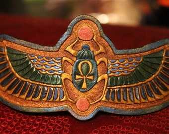 Leather wristband, Egyptian- scarab and Isis wing design. Custom sizing available!