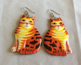 Vintage Big Cat Earrings. Hand Painted Wood. Orange and Yellow Kitty Dangle. 1980s Large Feline. Cat Lover Gift. Ten Dollar Gift.Birthday
