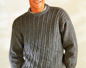 "mens sweater knitting pattern PDF mens crew neck jumper textured sweater 34-44"" DK light Worsted 8ply mens knitting pattern instant Download"