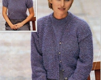 womens mohair cardigans & beret knitting pattern by Hobohooks