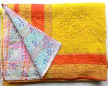 SUPER SALE! Collectors Item!! Summer kantha !! USD 20 off !! Vintage kantha quilt from India/ throw/ blanket, boho/ hippie/ chic/ Sari quilt