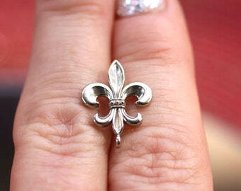 Sterling Silver 15x12.5mm Fleur-De-Lis Bail with Soldered Jump Ring, Fine Jewelry Making Supplies, New Orleans Saints