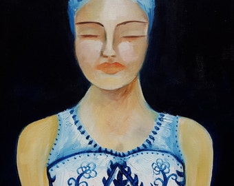 Indigo figurative art oil portrait - Serenity