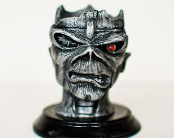 Hand made Iron Maiden inspired Seventh Son Eddie Statuette and battery operated tea light holder.