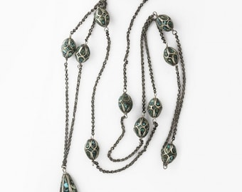 Long sterling silver necklace chain of vintage inlaid turquoise and silver beads, imported from India circa 1930s. nlvs762(e)