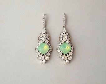Wedding Earrings - MINT Opal, Dangle Earrings, Bridesmaid Earrings, Crystal Earrings, Swarovski Crystals, Bridal Jewelry - TRINA