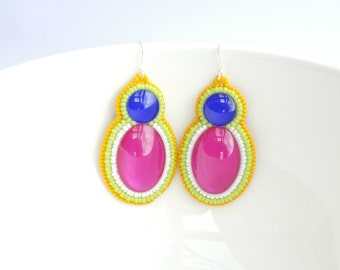 Colorful Dangle Earrings Silver Hooks Rainbow Earrings, Summer, Beaded Jewelry, Beadwork, Embroidery Summer Colorful Gift Girlfriend Fuchsia